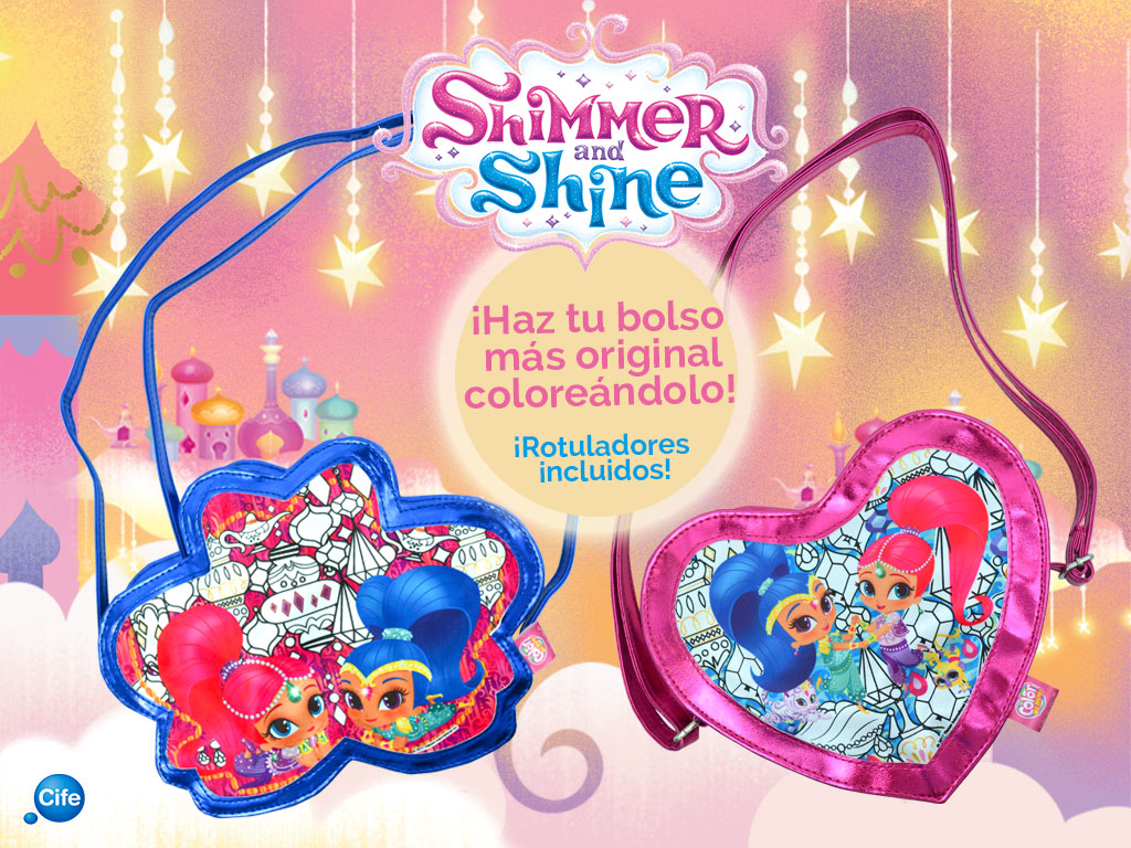 juguetes de Shimmer and Shine bolsos color me mine